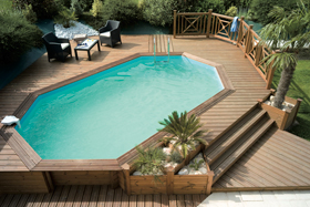Ambiance piscine abords bois
